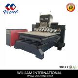 マルチヘッド平らな、回転式CNC機械木工業CNCの機械装置(VCT-1825FR-8H)