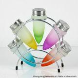 Vaso di vetro variopinto della spezia di figura all'ingrosso del richiamo con il basamento del metallo
