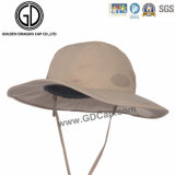 Clássicos Brown Cotton Cowboy Bucket Hat com Gancho e Loop Tamanho Ajustável