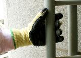 El recubrimiento de látex de tejido de aramida resistentes a cortes Guantes de trabajo de seguridad mecánica