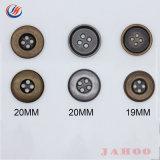Material ecológica Nickle libre Tamaño personalizado de aleación de metal 4 agujeros de botones para las prendas de vestir