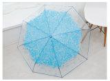 رومانسيّة [شرّي تر] ثلاثة يطوي شفّافة مظلة نمط أميرة [أومبرلّس] [وومن] [رين] [أومبرلّا] زهرة [برغس]