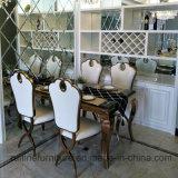Elegante moderna mesa de comedor de acero inoxidable y cuero de imitación Restaurante Rey trono silla de comedor para el banquete de bodas