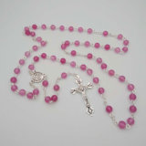 La pierre rose perle le collier catholique de rosaire (IO-cr414)