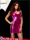 セクシーなパテント・レザーレディース下着の女の子の流行の熱いねまきのBlingのランジェリー