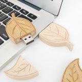 カスタマイズしなさいロゴの葉形木USBのメモリ棒(YT-8141)を