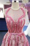 Платье вечера шарика Pleat шнурка кристаллический