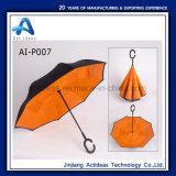 C 모양 손잡이 두 배 층 반전 접히는 우산