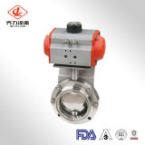 Best-Selling SS304/316L Sanitária Válvula Borboleta Pneumática de Aço Inoxidável