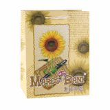 Bolsa de papel revestida del regalo del arte anaranjado de la manera del diseño del crisantemo