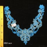bello merletto floreale blu del Neckline di 31*29cm con il foglio e l'oro Hme956 inserito seta