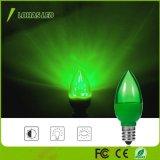 Bombilla verde colorida de la noche de los bulbos C7 1W LED de E12 LED para la decoración de la Navidad