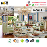 Muebles de estilo europeo 1+2+3 sofá de madera (HC829)