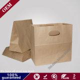 El surtidor chino no recicla hecho a mano ninguna bolsa de papel llana fuerte de Kraft del sello del patio de la tienda de comestibles de Brown de la maneta