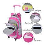 Rosafarbener Oxford-Walzen-Laufkatze-Beutel für Schule-Kinder mit Rädern
