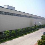Gruppo di lavoro della struttura d'acciaio nel campo di costruzione con installazione