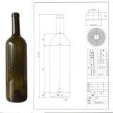 750ml Verde/Verde Escuro/Antique redondos de vidro verde garrafa de vinho