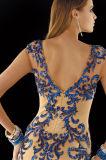 Sequin, der Nixe-nacktes Champagne-Dame-Kleid-Abend-Kleid bördelt