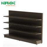 Un solo lado de supermercado Metal estantes estanterías de madera