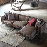Sofá de madeira de canto de couro modular de Loveseats para a sala de visitas