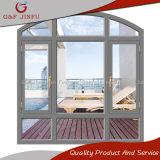 Guichet en verre en aluminium de tissu pour rideaux de qualité double avec le modèle de voûte
