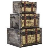 Mini de antigüedades de Tweed marrón madera MDF caja de embalaje