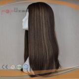 Parrucca superiore di seta delle donne di colore del nero dei capelli umani (PPG-l-0747)