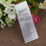 Fita de Damasco cetim de poliéster impresso etiquetas de tecidos de vestuário