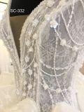 袖が付いている長い尾の球の花嫁衣装の結婚披露宴の服