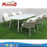 家具ロープの椅子およびアルミニウムページ枠テーブルセットを食事するテラス