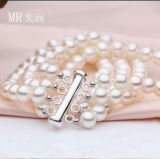 5-6mm 4strands Fashion Cultured Freshwater Pearl Bracelet Jewelry