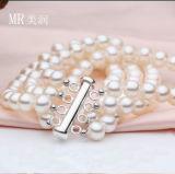 5-6mm 4 hebras de la moda de joyería Pulsera de Perlas cultivadas de agua dulce