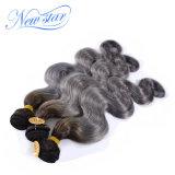 Волосы серебра объемной волны волос девственницы черного корня Ombre бразильские