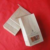 Su ordine cuocere il sacchetto della parte inferiore piana della carta kraft del Brown dell'alimento
