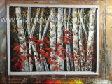 OfficeのためのハンドメイドのRed Leaf Birch Tree Oil Paintings