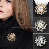 ラインストーンの真珠の花の方法宝石類のブローチの女性のブローチPinの結婚式の宝石類(BR-08)
