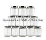 1.5 Unze-Minihexagon-Glasgläser mit weißes Plastisol gezeichneten Kappen