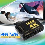 小型HDMIのスイッチャ2160p 5 HDTV DVD TVボックスのためのハブIRのリモートが付いているポート4K HDMIスイッチセレクタのディバイダー