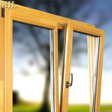 Revestimiento de madera aluminio doble acristalamiento gire a la inclinación de Casement Window