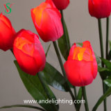 PU 옥외 잔디 훈장을%s 물자 인공적인 LED 꽃 빛