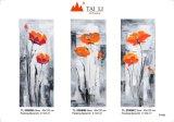 3PCS florais Artes abstractos pintura a óleo