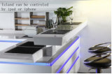 Weißer moderner hoher Glanz-intelligenter Küche-Schrank