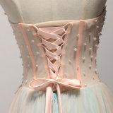 Applique feito-à-medida que perla o vestido de noite do comprimento do assoalho