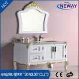 Vanité en bois blanche restante de bassin de salle de bains d'étage de modèle moderne