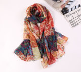Оптовые женщины шарфа маркизета хлопка длиной напечатанные