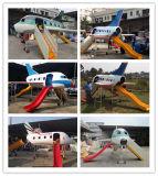 Modèle d'avion de jeu pour enfants avec toboggan Aire de jeux Mini-avion de Firberglass pour la maternelle