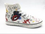 レース(ET-YH160337W)が付いている高い切口のキャンバスの女性の方法靴