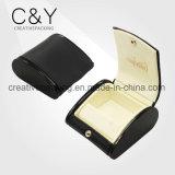Caixa de couro preta da caixa do bracelete da jóia