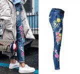 Signora Straight Denim Pants Jeans del ricamo della vita dei jeans delle donne alta