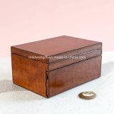 Коробка ювелирных изделий Tan/золота кожаный